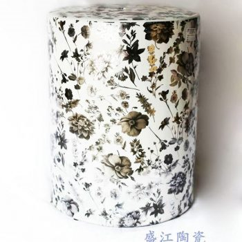 RZKA171301   花朵直筒陶瓷凳凉墩花园凳浴室换鞋凳景德镇摆件