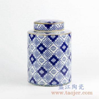 RZKQ01    青花描金茶叶罐储物罐陶瓷罐日用瓷用具景德镇