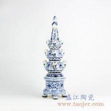 青花缠枝莲雕塑雕刻摆件品艺术陶瓷创意景德镇