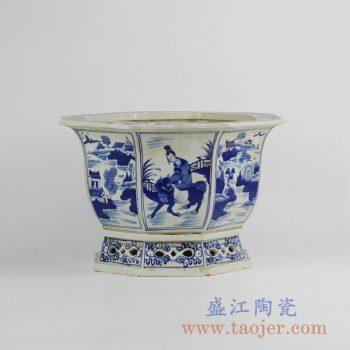 RZKS01-A   仿古手绘八边形人物花盆陶瓷摆件品景德镇