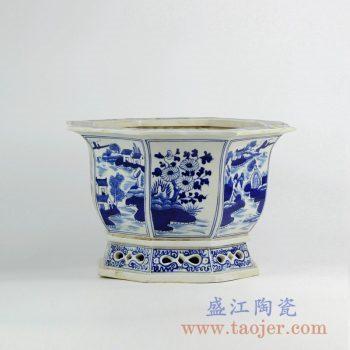 RZKS01-B  景德镇手绘青花山水镂空花盆花插八边形陶瓷品