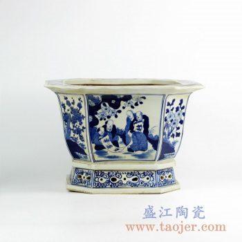 RZKS02-A 手绘青花人物镂空花盆八边形陶瓷摆件景德镇