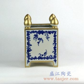 RZKS04   青花描金花盆花插景德镇陶瓷摆件品