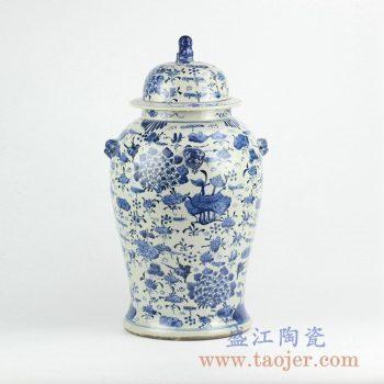 RZKT01-A   青花花草将军罐陶瓷瓶储物罐摆件品景德镇