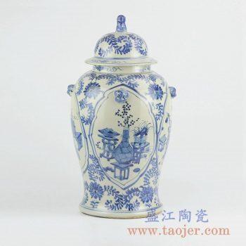RZKT01-B   青花开窗花草将军罐陶瓷瓶储物罐景德镇摆件品