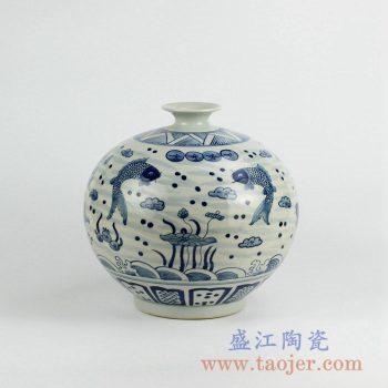 RZKY02  仿古青花年年有余陶瓷花瓶花插景德镇