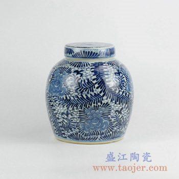 RZKY04-B   青花花草茶叶罐储物罐陶瓷盖罐日用品景德镇