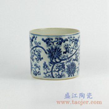 RZKY05-A  仿古青花缠枝莲笔筒箭筒陶瓷罐摆件景德镇