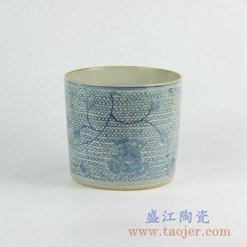 RZKY05-B   仿古青花条纹笔筒箭筒陶瓷罐摆件景德镇