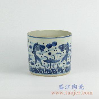 RZKY05-C   仿古青花年年有余笔筒箭筒陶瓷罐摆件景德镇