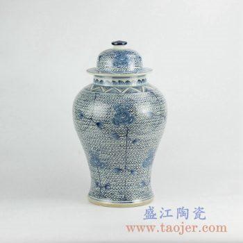 RZKY06   手绘青花花朵将军罐花瓶景德镇艺术摆件品