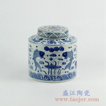 RZKY08  手绘青花荷塘年年有余茶叶罐陶瓷储物罐摆件景德镇