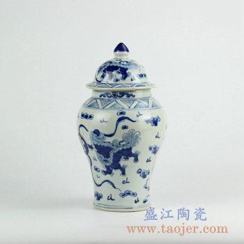 RZKY10-A   景德镇手绘青花龙纹将军罐盖罐陶瓷花瓶艺术摆件品