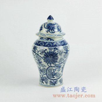 RZKY10-B   手绘青花缠枝莲将军罐盖罐陶瓷花瓶景德镇艺术摆件品