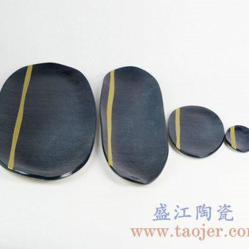 RZKZ02 黑色陶瓷四件套盘子水果盘瓜子盘菜盘景德镇日用瓷