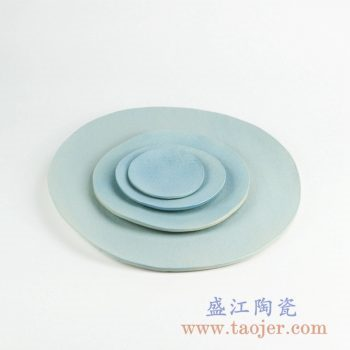 RZKZ03 浅兰陶瓷四件套盘子水果盘瓜子盘菜盘日用瓷