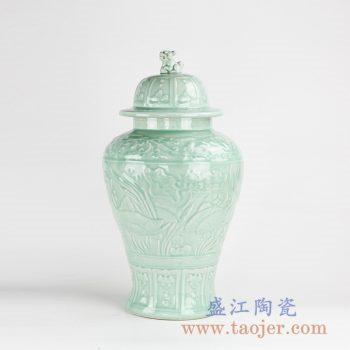 RZKo01  青釉雕刻颜色釉将军罐陶瓷储物罐花瓶摆件景德镇