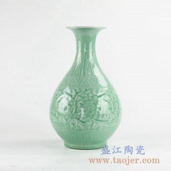 RZLA01-A  颜色釉绿色雕刻雕塑花瓶花插景德镇创意摆件品