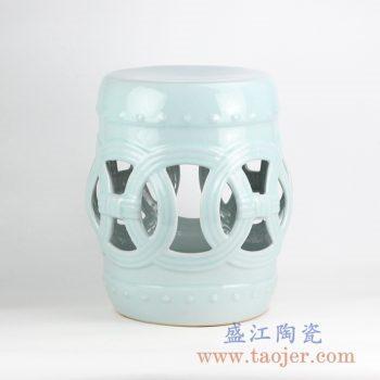 RZLB01-A   颜色釉浅绿镂空陶瓷凳凉墩花园凳景德镇摆件