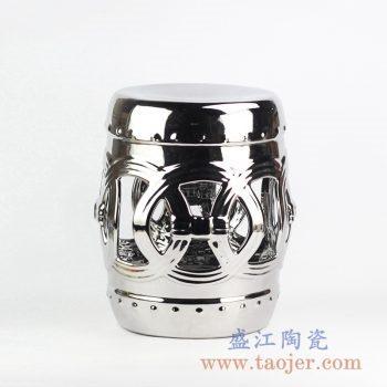 RZLB01-B 颜色釉镀银镂空陶塑凳凉墩景德镇摆件