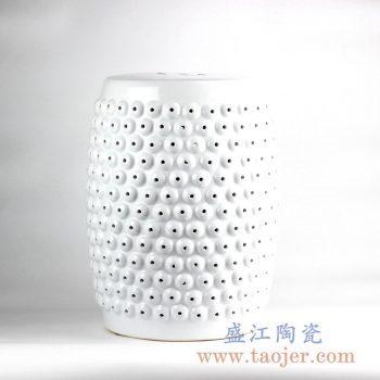 RZLB02-A  白色雕刻镂空陶瓷凳凉墩花园凳换鞋凳景德镇陶瓷摆件