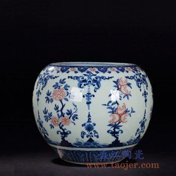 RZLG06仿古手绘青花瓷釉里红花瓶