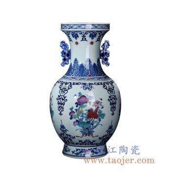 RZLG07   青花仿古手绘斗彩双耳花瓶