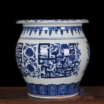 RZLG12     手绘青花瓷缠枝花瓶坛子花插缸