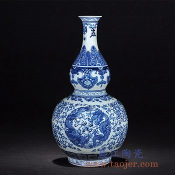 RZLG16仿古青花瓷双龙戏珠葫芦花瓶