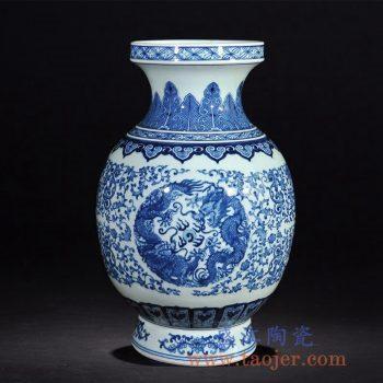 RZLG17  仿清乾隆手绘青花瓷双龙戏珠大花瓶