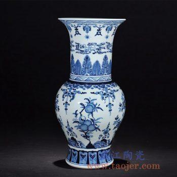 RZLG18-B  手绘仿古青花瓷寿桃花瓶三果凤尾尊