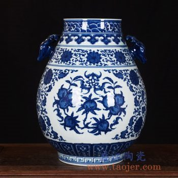 RZLG22   手绘高档仿古釉下青花双耳福筒花瓶
