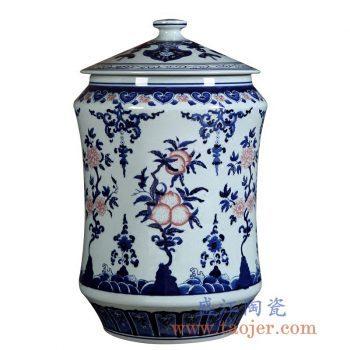 RZLG37  仿古手绘青花釉里红茶叶罐