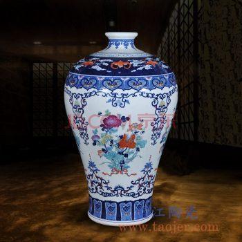 RZLG40     手绘青花斗彩花卉梅瓶