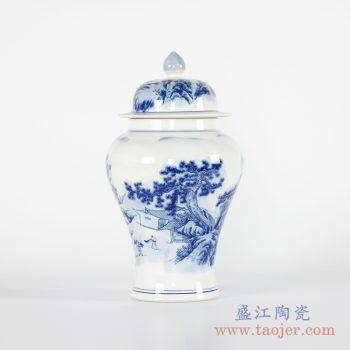 RYCI40-B  青花山水将军罐花瓶带盖陶瓷摆件品