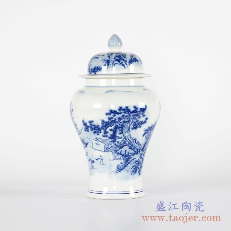 RYCI40-B  青花山水将军罐花瓶带盖
