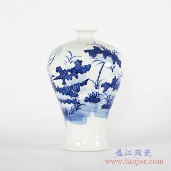 RYCI42-A    青花手绘荷花梅瓶花瓶花插