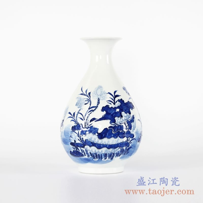RYCI45-A 手绘青花雕刻花卉玉壶春花瓶