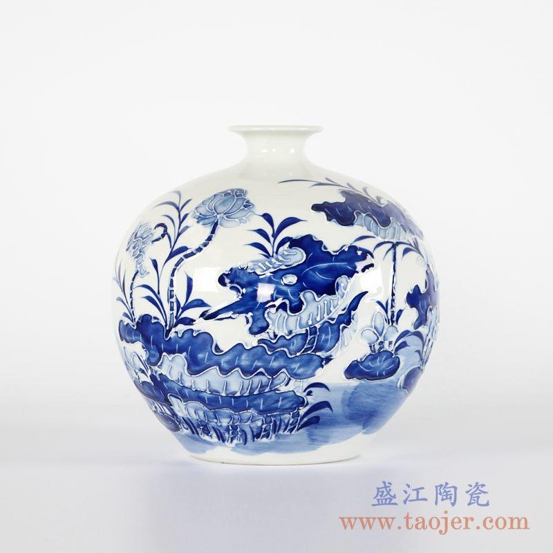 RYCI46-A 手工手绘雕刻青花荷花圆球瓶