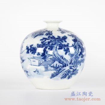 RYCI46-b 手绘青花山水 圆球瓶 花瓶花插