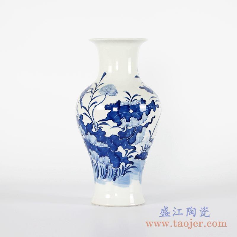 RYCI48-A 手绘青花荷花鱼尾瓶花瓶雕刻