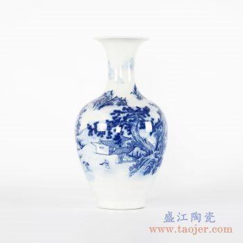 RYCI49-A  青花山水楼阁花瓶花插