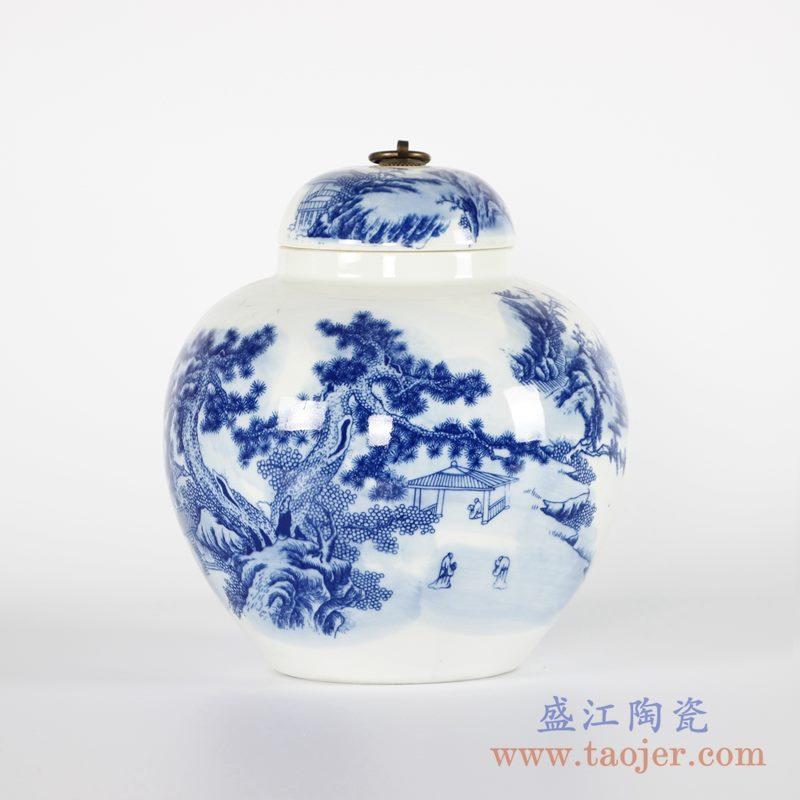 RYCI51-a   青花山水茶叶罐储物罐带盖密封