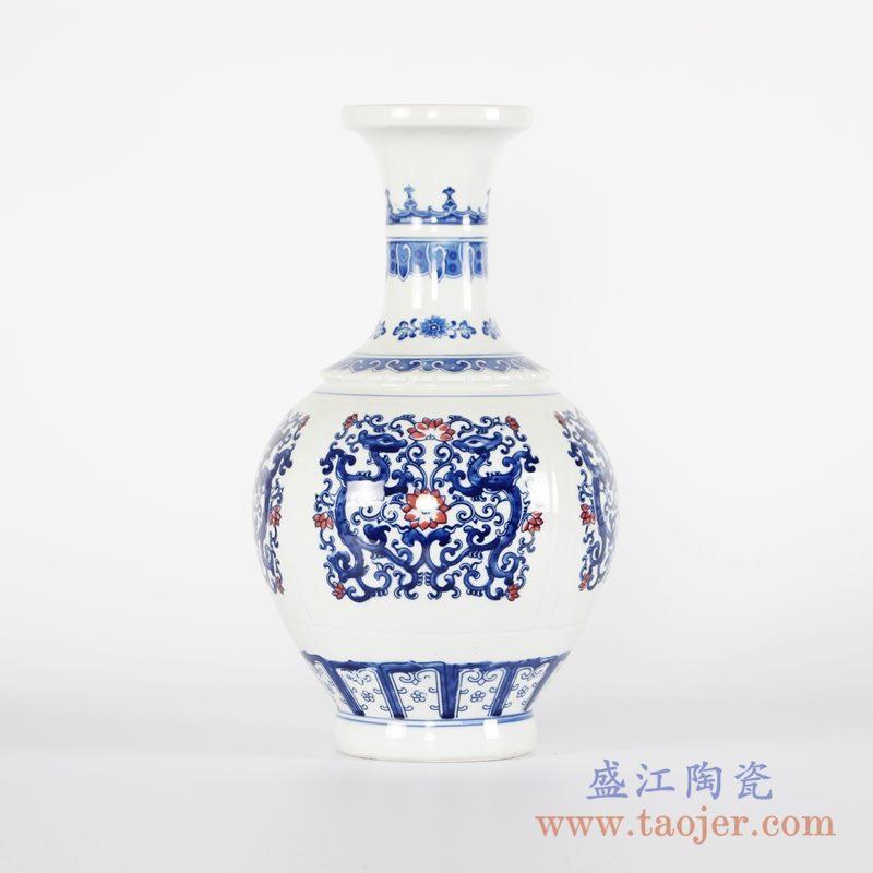 RYCI52-A    青花釉里红仿古山水花瓶花插