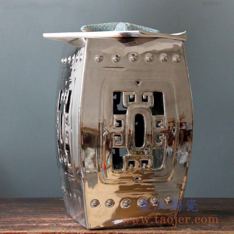 RYKB118-D   镀银四方镂空陶瓷凳凉墩花园凳雕刻