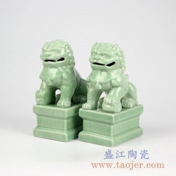 RYXP21-Q   豆青釉陶瓷招财狮子 豆青摆件雕刻