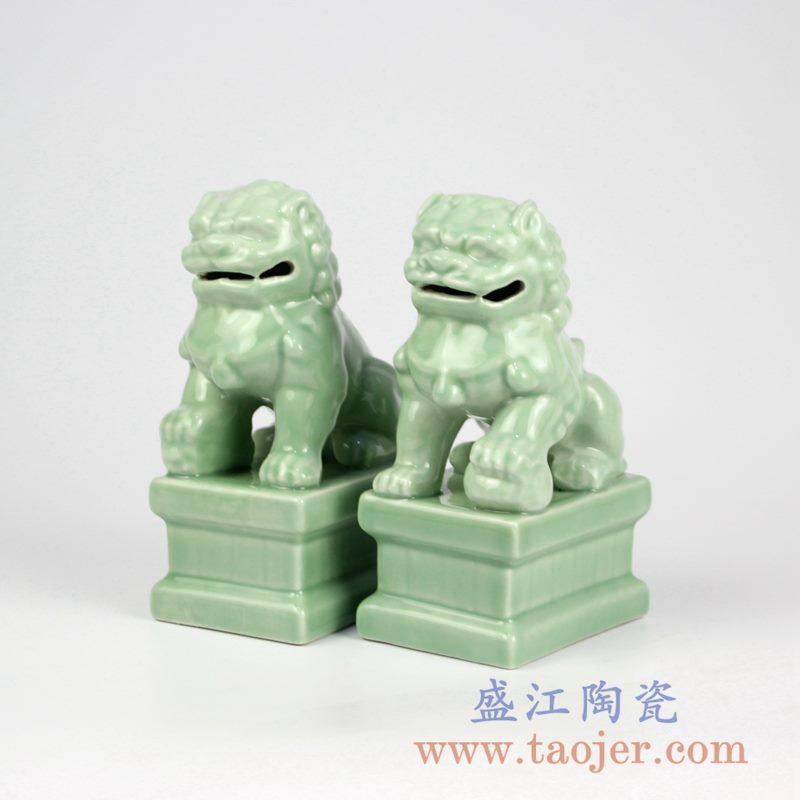 RYXP21-Q     陶瓷招财狮子 豆青摆件雕刻