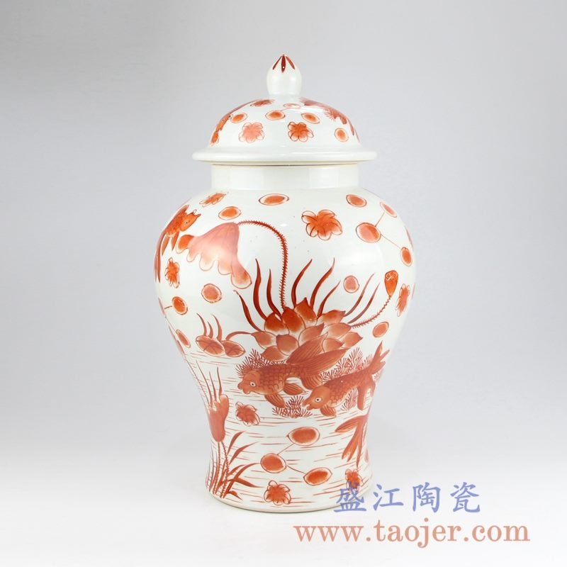 RZIS03  手绘凡红鱼草纹陶瓷将军罐储物罐