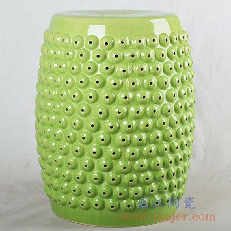 RZLB02-D浅绿色 浮雕乳钉纹瓷凳化妆凳客厅阳台凳 镂空