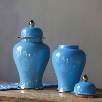 RYKB132-G-A   天蓝色描金将军罐花瓶花插大号